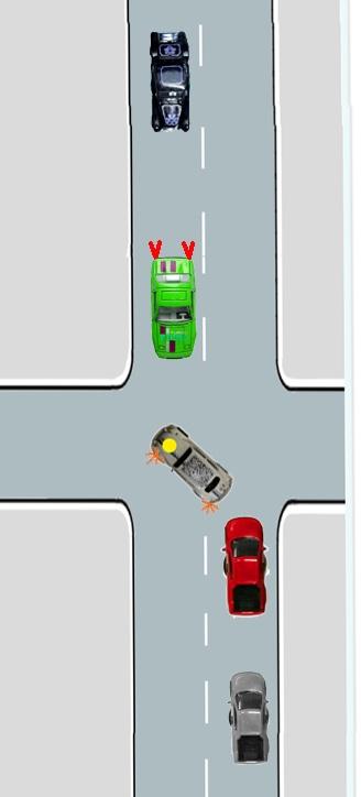 Abbiegen nach links (der Wagen mit dem gelben Punkt), Drängler rot. Gegenverkehr (grün) bremst