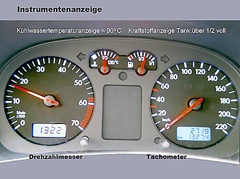Instrumentenanzeige an der Armaturentafel, Pkw. Links Drehzahlmesser, rechts Tacho