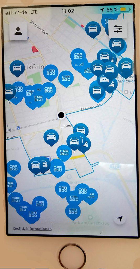 App Carsharing, Autos in der Nähe anzeigen